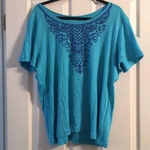 Laura Scott XL seed bead embelished t shirt